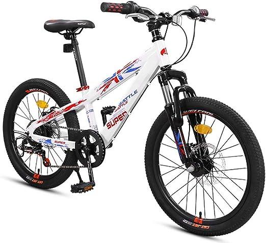 GWFVA Bicicletas de montaña para niños, Bicicletas de montaña con Freno de Doble Disco, suspensión Delantera, Cuadro de Aluminio, Bicicleta de montaña Todo Terreno, Blanco, 20 Pulgadas, 7 velocidades: Amazon.es: Hogar