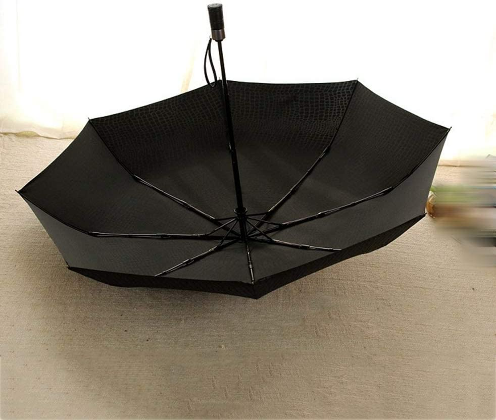 ZhiGe Foldable Umbrella,Fashion Stripe Business Style high Grade Fully Automatic Sunny and Rainy Three Folding Umbrella
