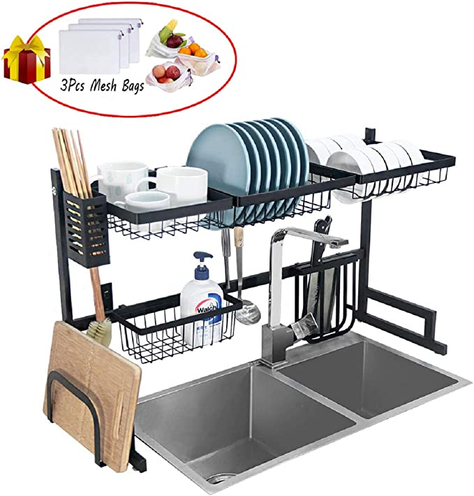 Dish Drying Rack Over Sink Kitchen Supplies Storage Shelf Countertop Space Saver Display Stand Tableware Drainer Organizer Utensils Holder Stainless Steel, Black best kitchen sink organizer