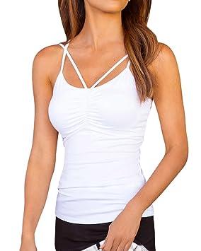 Camisetas Sin Mangas Mujer Blusas Camisas Tops Envuelta En El Pecho Blanco S