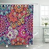 Emvency Shower Curtain 72''x78'' Mandala Vintage Oriental Arabic Indian Turkish Pakistan Chinese Moroccan Ottoman Waterproof Polyester Fabric Adjustable Hook