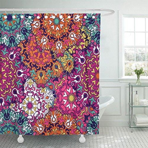 Emvency Shower Curtain 72''x78'' Mandala Vintage Oriental Arabic Indian Turkish Pakistan Chinese Moroccan Ottoman Waterproof Polyester Fabric Adjustable Hook by Emvency