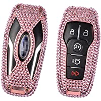 [M.JVisun] Car Key Fob Cover For Ford Mustang Explorer Taurus F-150 Remote Key Engine Start Stop , Diamond Car Key Case Cover Handmade , Aircraft Aluminum + Genuine Leather + Bling Crystal - Rose Gold