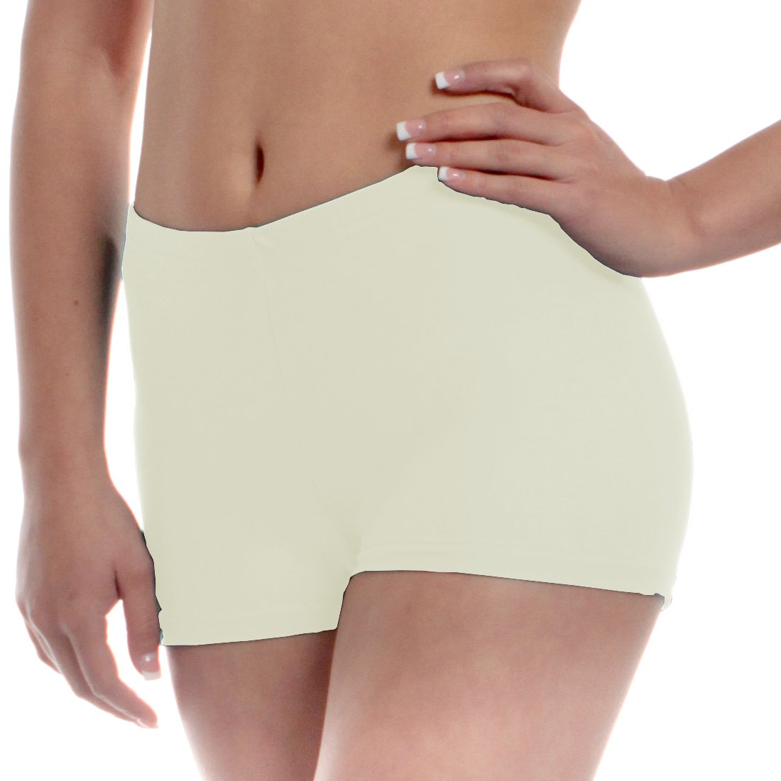 Mens Long Dance Shorts Extra Small Ivory by B Dancewear Adult Sizes by Bailar Dancewear
