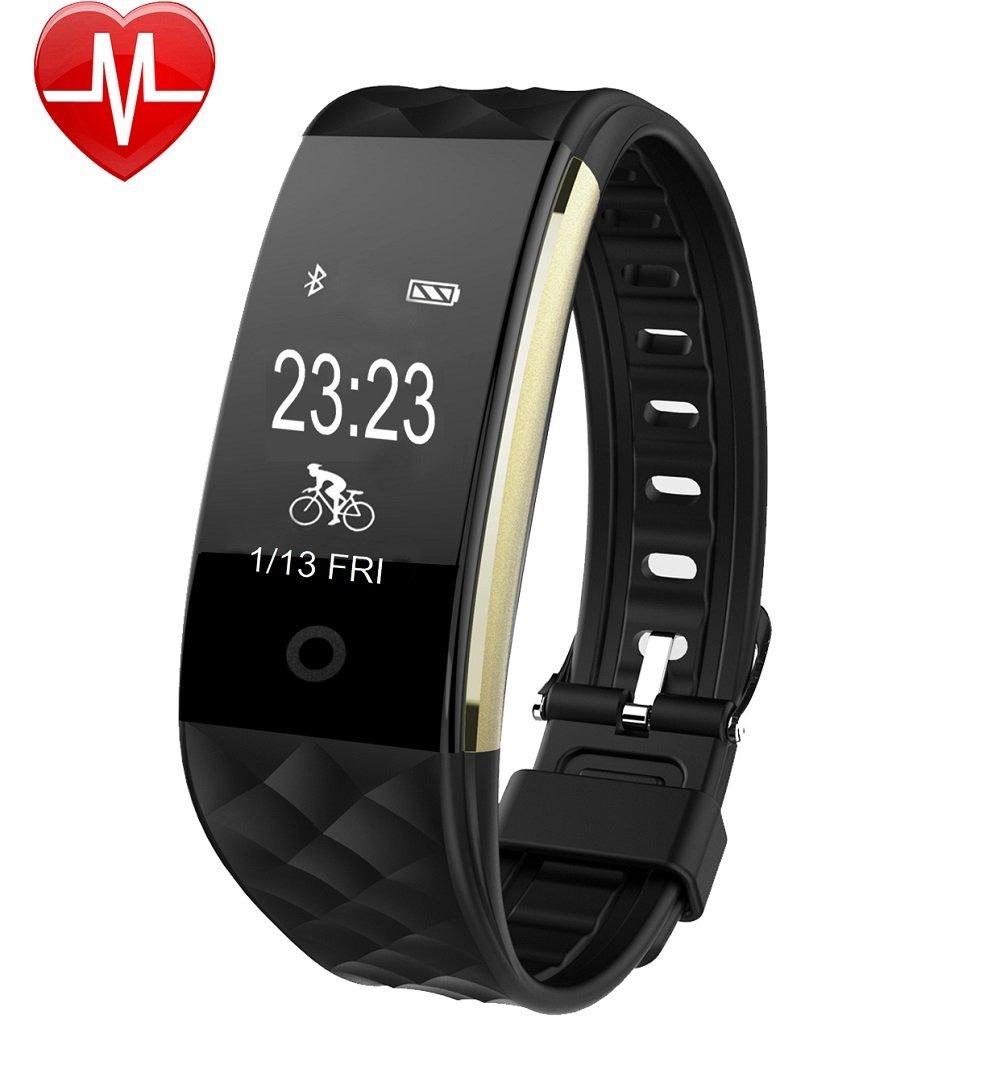 心脏监测仪的手表,月眉育乐HR4健身追踪行为跟踪防水IP67有氧,健身表带表带蓝牙智能计步器通知电话和短信兼容Android和iOS智能手机