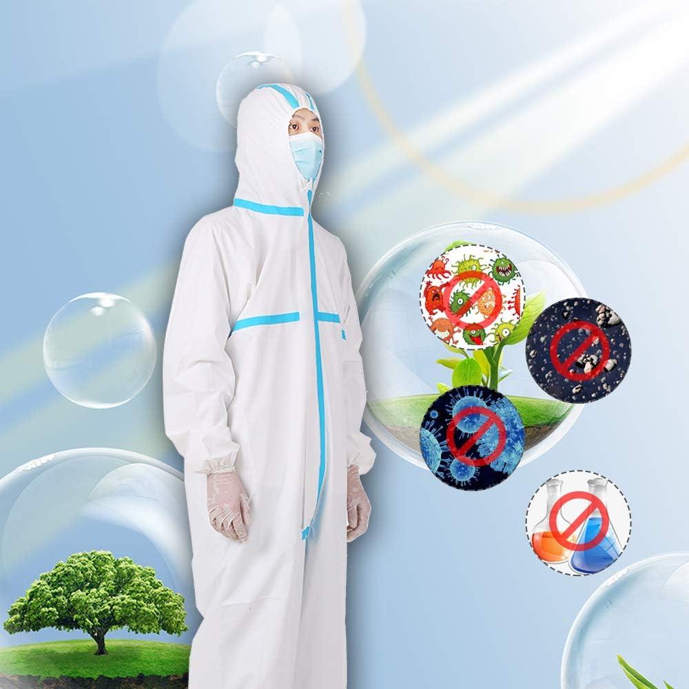 OWSOO Tuta monouso Anti-epidemia Antibatterici in plastica Chiusure Tuta di isolamento Prevenire invasione per il personale Indumenti protettivi Tute antipolvere Antistatiche