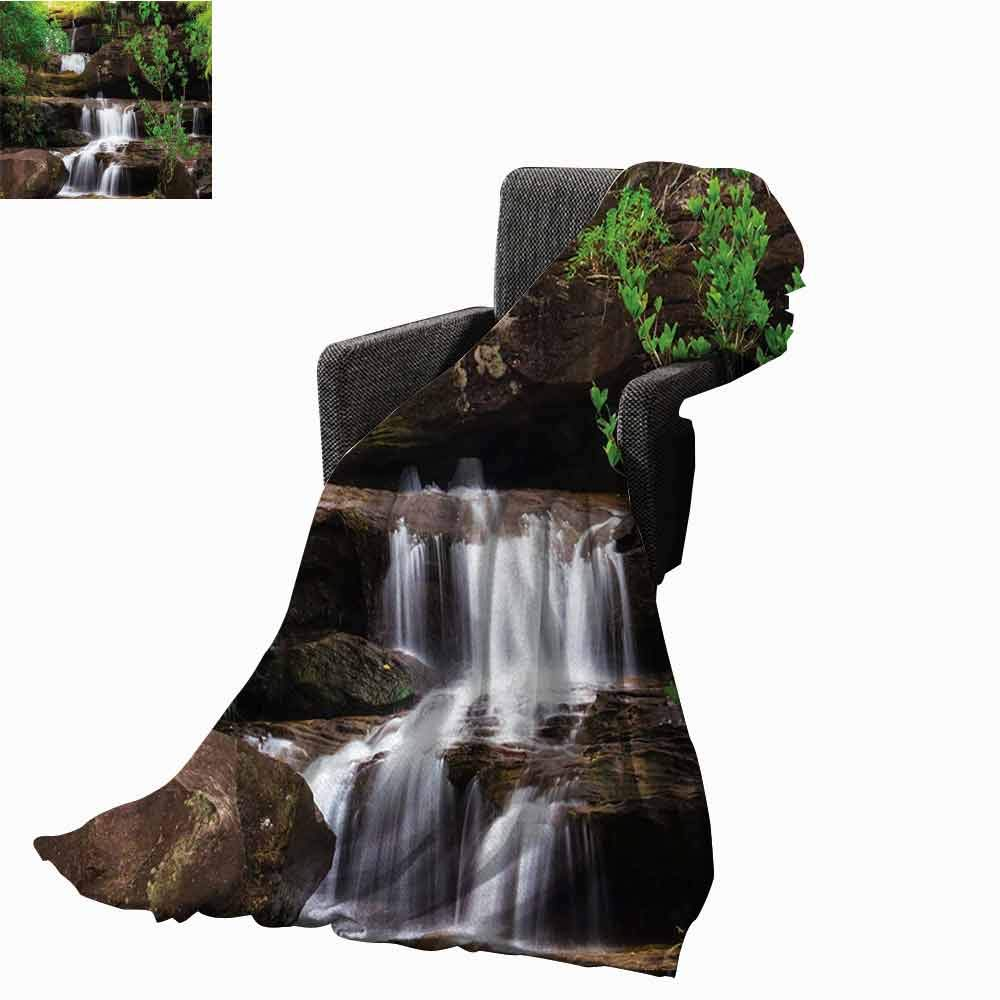 Waterfall Bed Blankets,Little Waterfalls Flow on Rock Stairs Surrounded by Long Plants Earth Printing Throw Blanket for Living Room (70''x60'')-Brown White and Green