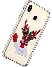 Herbests Compatible per Samsung Galaxy A20 / A30 Cover Silicone Sottile Trasparente Colorata Custodia Crystal Clear Flessibile Gomma Morbida Case Serie del Natale TPU Protettiva Cover,Wapiti