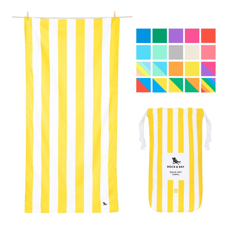 Microfibre Striped Oversized Beach Towels - Boracay Yellow, Extra Large (200x90cm, 78x35) - XL Compact Towel, Fast Drying, Beach Umbrella mat