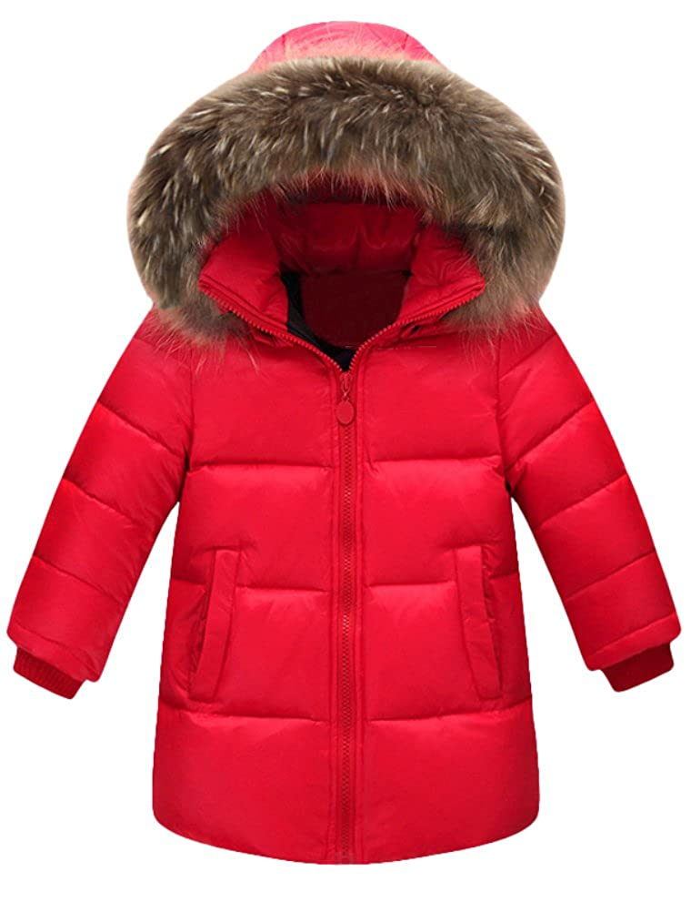 Mallimoda Boys Girls Winter Fur Hooded Parka Down Jacket Puffer Bubble Coat CA-MaXT156