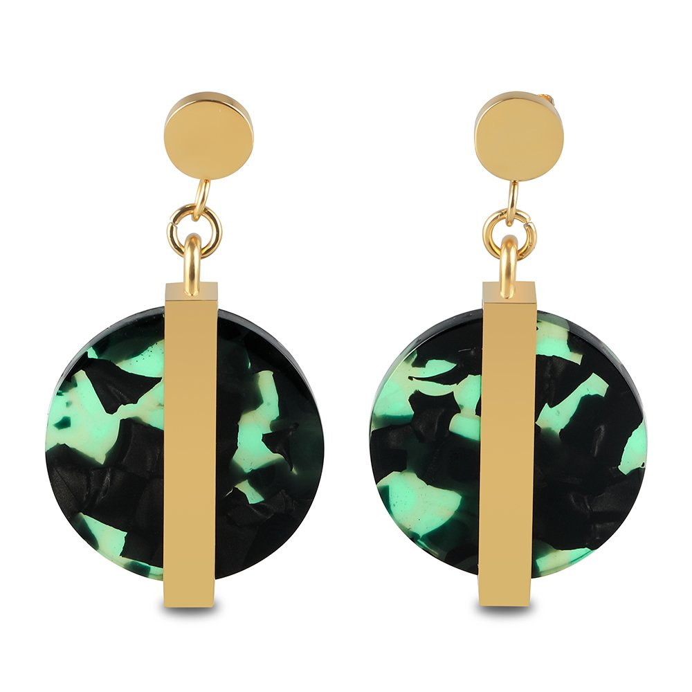Metal Brass 18K Gold-Plated Earrings and multicolour stone-effect Resin disc earrings by FIGRACE (Agate green)