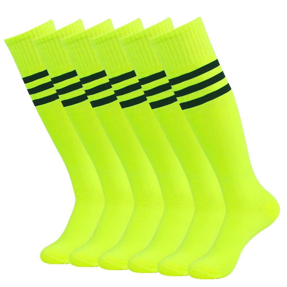 Long Tube Soccer Socks Dress Bright Color Mifidy Wicking Moisture Rugby Football Soccer Volleyball Baseball Socks with White Stripe(6pairs-Fluorescent Green) by Mifidy