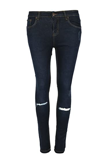b408d054528 Womens Ladies Regular Full Ankle Length Knee Cut Out Skinny Denim Jeans  Trouser