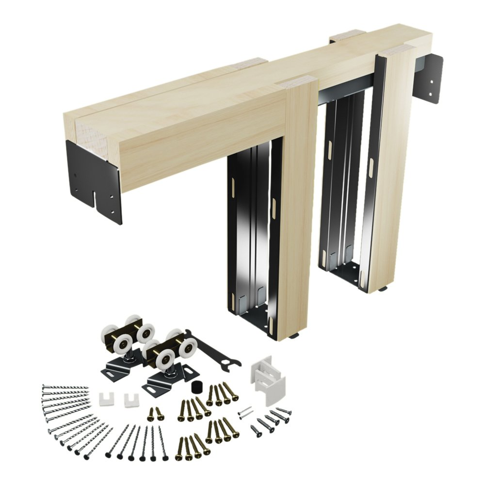 Slide-Co 164553 Pocket Door Kit, Steel Reinforced Wood Framing, For 24 in. to 36 in. x 6 ft.-8 in. Doors