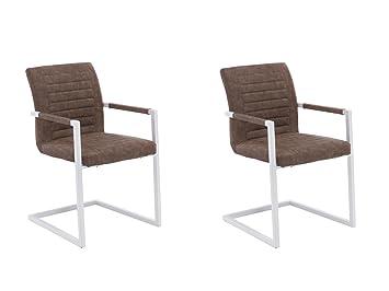 Esszimmerstuhl Modern 2x woodkings schwingstuhl picton kunstleder braun metall weiß
