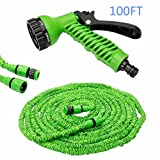 100FT Expanding Garden Water Hose Pipe with 7 Function Spray Gun Expandable Flexible Magic Hose Anti-leakage Lightweight Easy Storage