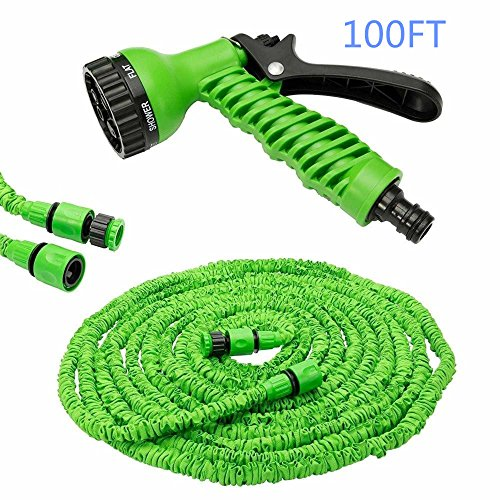100FT Expanding Garden Water Hose Pipe with 7 Function Spray Gun Expandable Flexible Magic Hose Anti-leakage Lightweight Easy Storage by LINFON