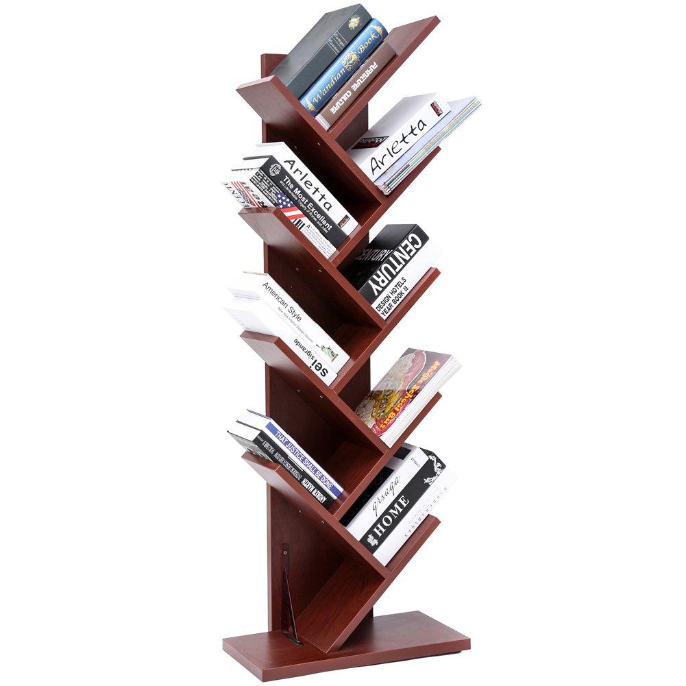 9-Shelf Tree Bookshelf | Superjare Compact Book Rack Bookcase | Display Storage Furniture for CDs, Movies & Books | Holds Up To 10 Books Per Shelf | Cherry Wood