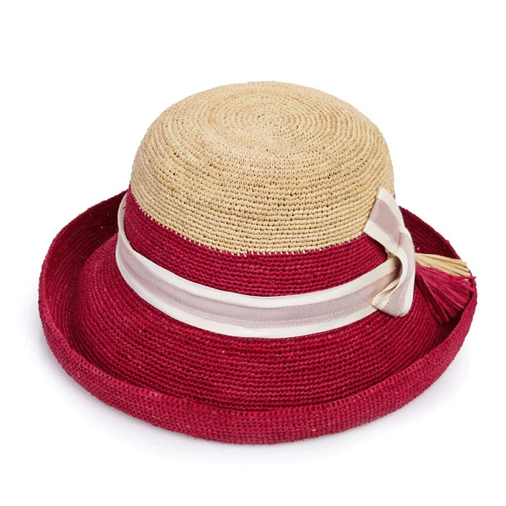 調節可能な女性の夏のLafiteの麦わら帽子のFoldableバイザーの快適な通気性の帽子  レッド B07PQHP539