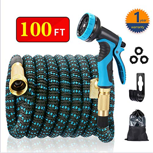 EASYHOSE 100ft Expandable Water Garden Hose,Expanding Flexible Hose with Strength Stretch Fabric with Brass Connectors – 9 Way Spray Nozzle +12 Months Warranty