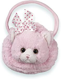 Bearington Meow Meow Carrysome, Girls Plush Pink Kitty Stuffed Animal Purse, Handbag 7 inches