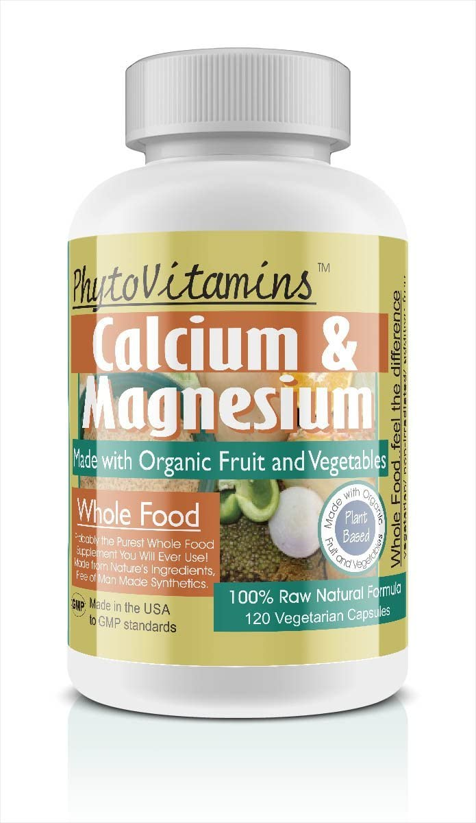 Organic Whole Food Calcium & Magnesium 120-Count Vegetarian Capsules by PhytoVitamins