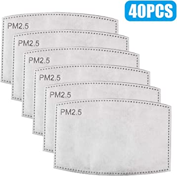 30Pack Activated Carbon Filter 5 Layers Anti Haze Dust Filters for Adult Face Protection