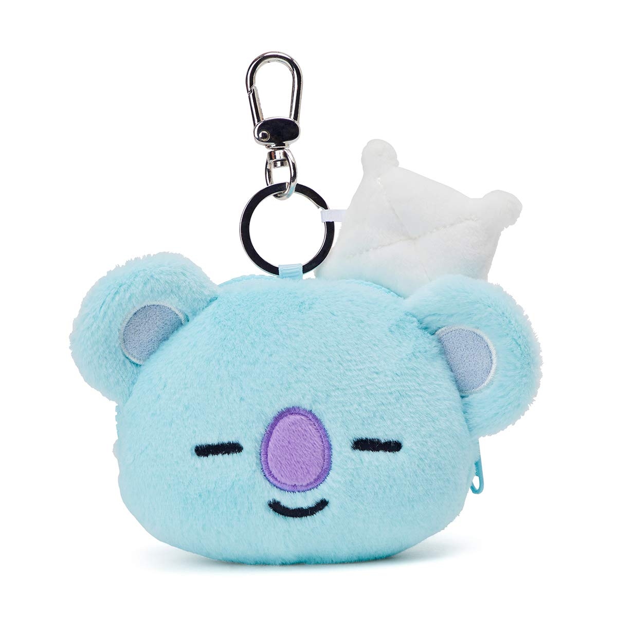 BT21 Official Merchandise by Line Friends - KOYA Character Keychain Coin Purse Bag Charm, Blue