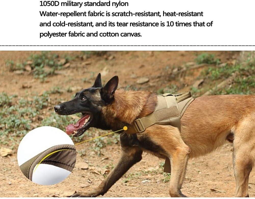 Gilet Militaire en Nylon avec Sangle Thoracique Amovible avec poign/ée,E,Small HAOHAO Harnais Tactique pour Chien Chien de Patrouille Harnais pour Chien de Travail