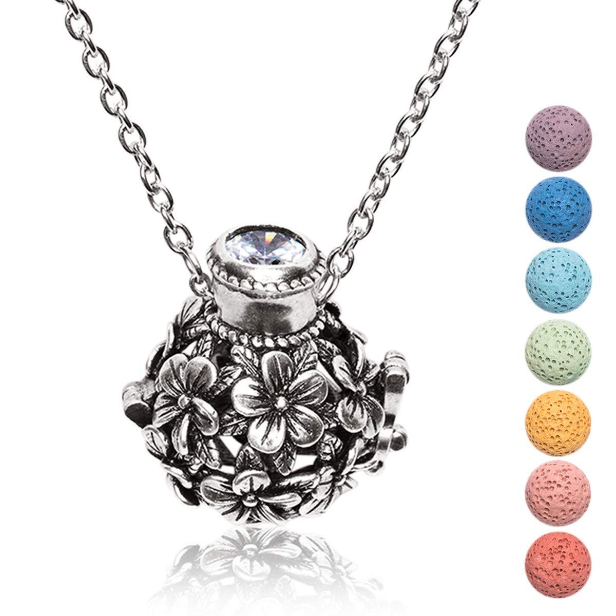 Kayder Essential Oil Diffuser Flower Ball Filigree Locket Aromatherapy Pendant Necklace with 7 Color Chakra Lava Rock Bead Inserts, Antique Silver Yoga Necklace for Women Girls, 20'' to 22'' Adjustable