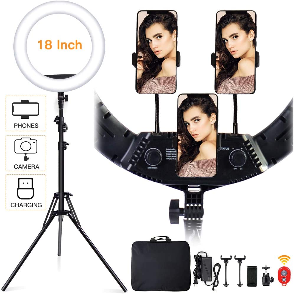 18 Inch Ring Light with Tripod Stand, Dimmable 3200K-5500K LED Ringlight with 3 Rotatable Phone Holder Wireless Remote Carry Bag for YouTube, Video Recording, Live Streaming, TikTok, Makeup and etc
