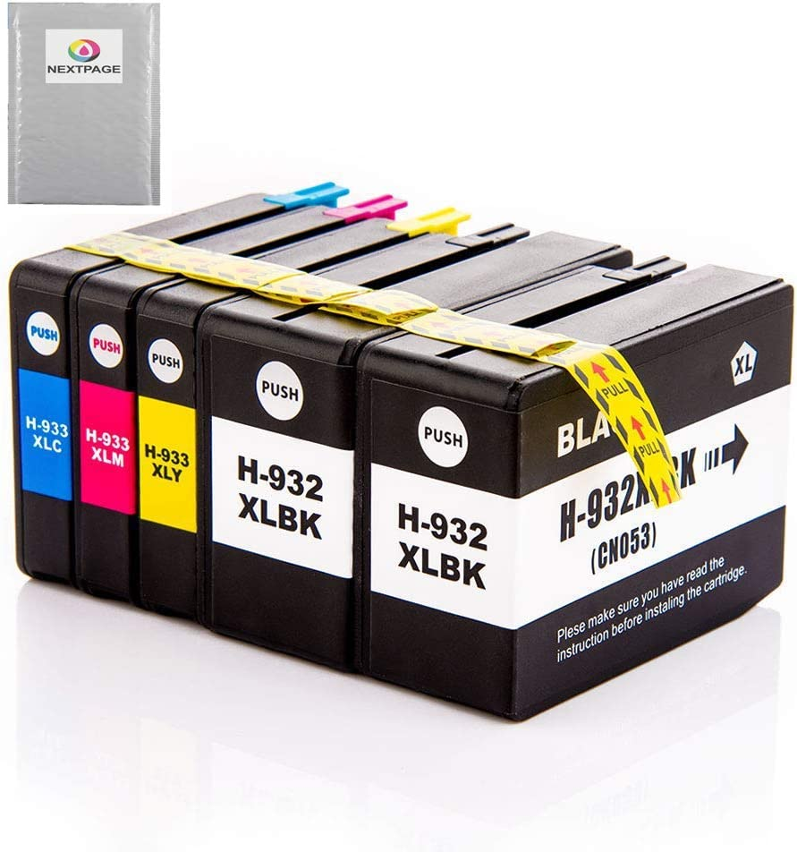 NEXTPAGE Compatible Ink Cartridge Replacement for HP 932XL 933XL Officejet 6600 6700 6100 7612 7610 7110 Printers (2 Black, 1 Cyan, 1 Magenta, 1 Yellow, 5 Pack)