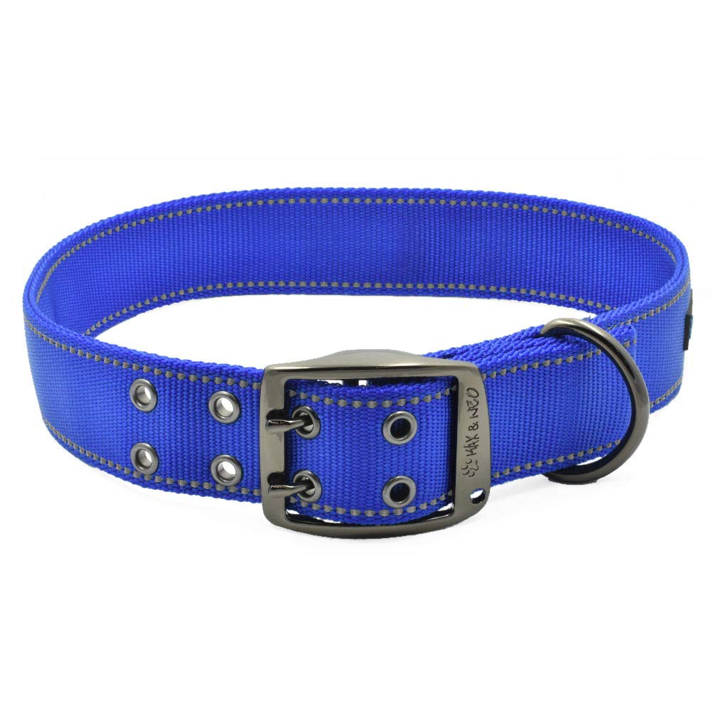 blueE X-Large blueE X-Large Max and Neo MAX Reflective Metal Buckle Dog Collar We Donate a Collar to a Dog Rescue for Every Collar Sold (X-Large, bluee)