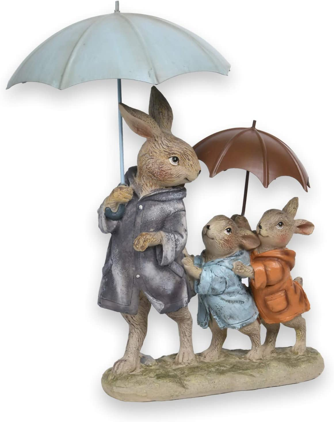 Newman House Studio Rabbit Family Decoration Metal-Umbrella Bunny Figurine Home décor