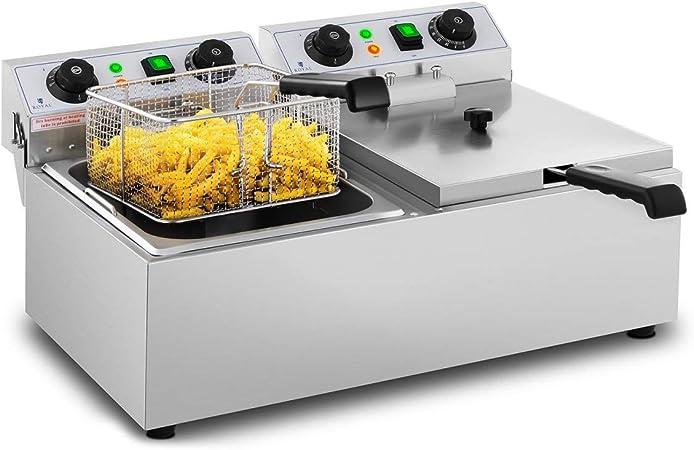 Royal Catering Freidora Eléctrica Doble Para Hostelería 2 x 10 Litros 230 V RCTF 10DB (2 x 3.200 W, Temporizador 60 Min, Temperatura: 50-200 °C): Amazon.es: Hogar