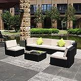 U-max 7 Piece 3-14 Pieces Patio PE Rattan Wicker Sofa Sectional Furniture Set (BK-7 Pieces)