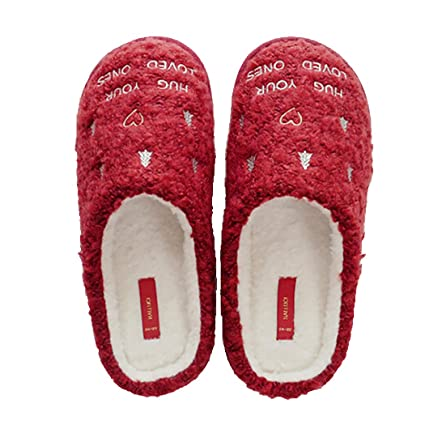 outgeek christmas slippers winter warm slippers anti skid slippers xmas house slippers for women