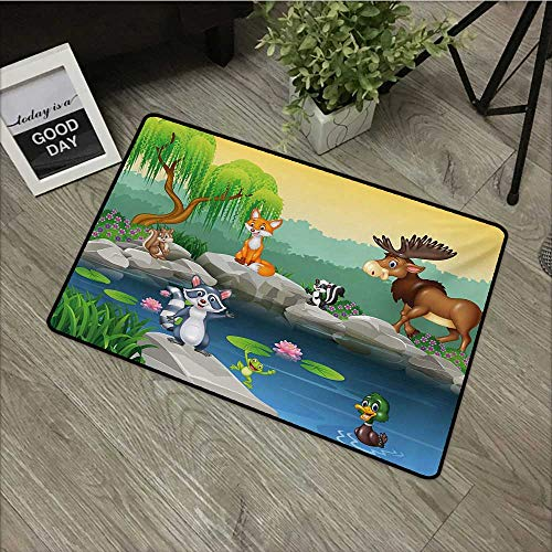 Moses Whitehead Flowers Doormat Entrance Mat Cartoon,Funny Mascots Animals by The Lake Moose Fox Squirrel Raccoon Kids Nursery Theme,Multicolor,for Entry, Garage, Patio, High Traffic Areas,20