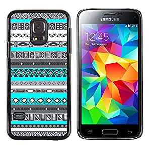 Exotic-Star ( Pattern Teal Blue Native American ) Fundas Cover Cubre Hard Case Cover para Samsung Galaxy S5 Mini / Samsung Galaxy S5 Mini Duos / SM-G800 !!!NOT S5 REGULAR!