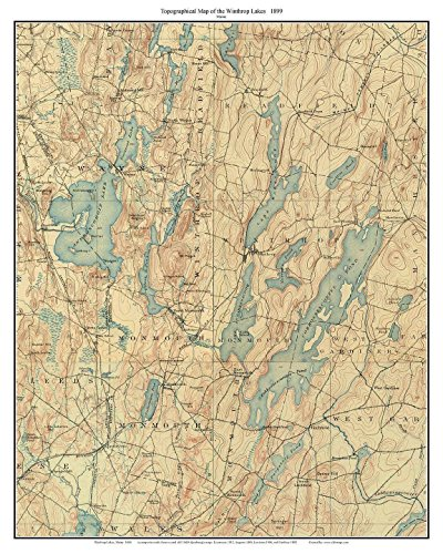 Winthrop Lakes - 1899 Old Topographic Map USGS Custom Composite Reprint - Maine ()