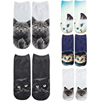 Womens Girls 3D Novelty Funny Cute Cat Ankle Low Cut Socks Value Pack for Gift