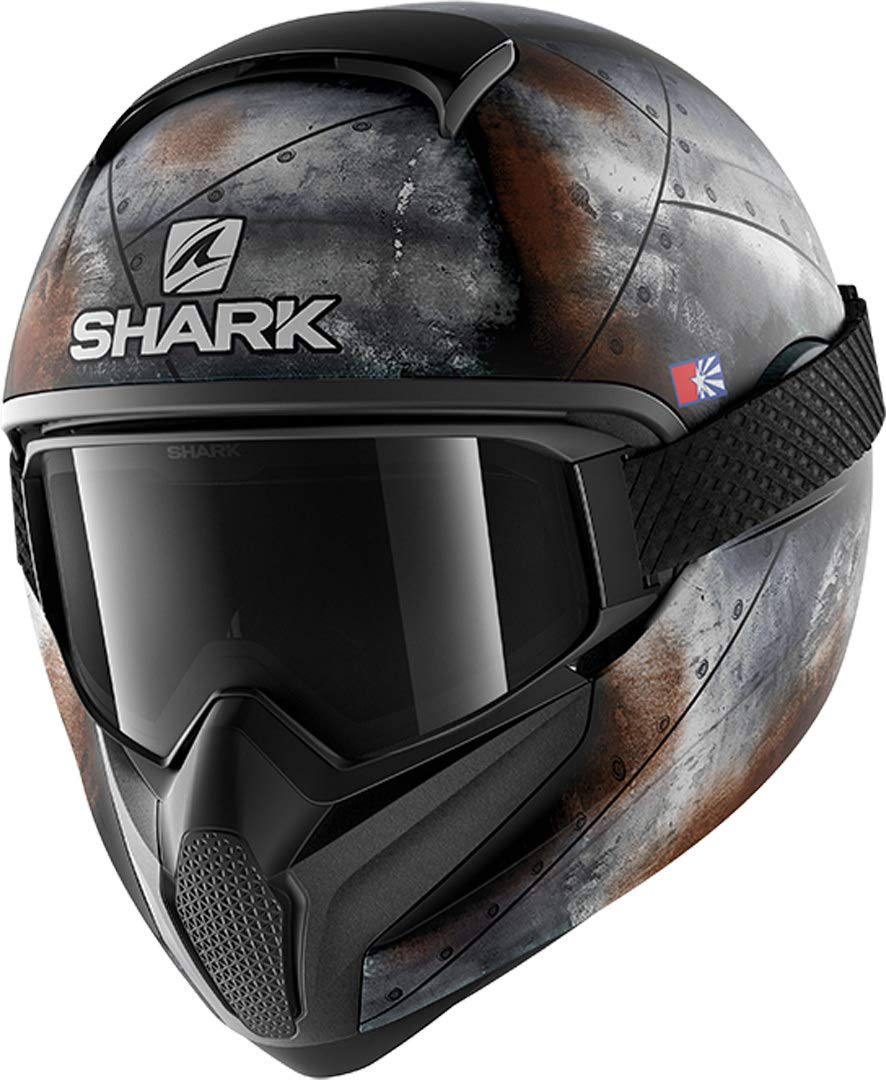 Noir//Orange, M Shark Casco de moto Vancore 2 Flare Mat Kao