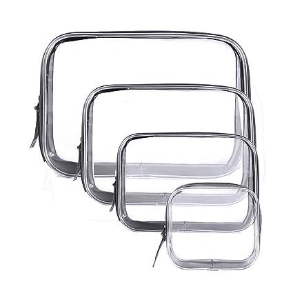 Meowoo Bolsas de Aseo Transparente Mujer Cosmeticos Neceseres Viaje Toiletry Bag, PVC Impermeable, Grandes, Medianas y Pequeñas.(4Pcs)