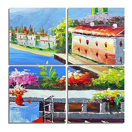 Hsuoi Art Town Paintings Canvas Print Town Pictures Modern Artwork Ready to Hang for Wall Decor 12x12in