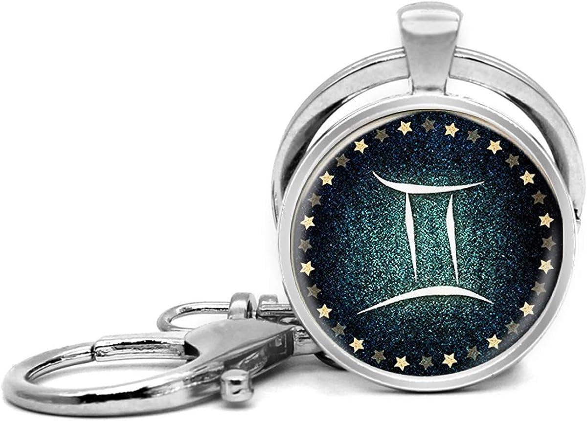 Llavero de acero inoxidable con llavero, ligero y decorativo, ideal como regalo para hombres y mujeres, cumpleaños zodiaco géminis