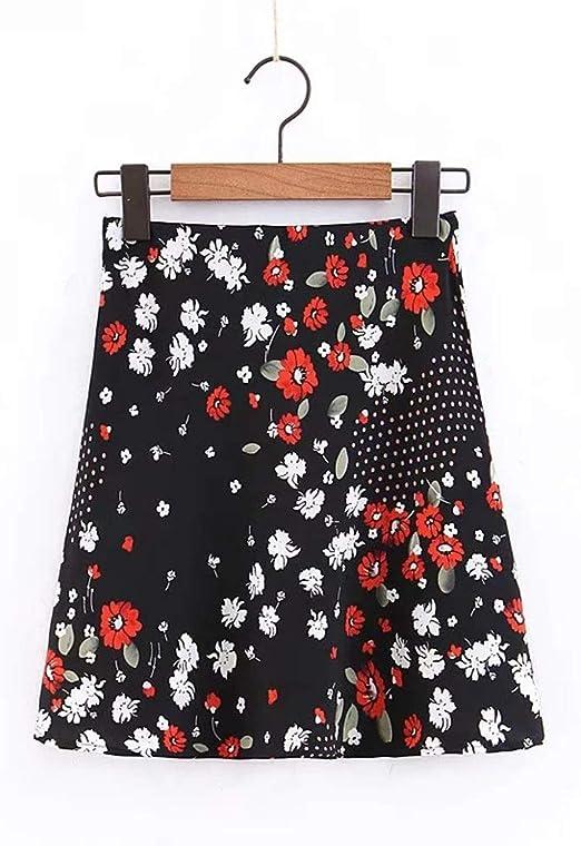 Yangxuelian-CL Falda Falda de Mujer Flower A Line Mini Falda con ...