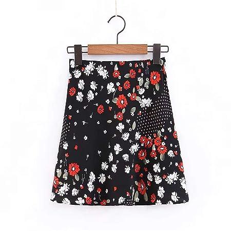 Belingeya-cl Falda de Mujer con Estampado de Flores, Cintura Alta ...