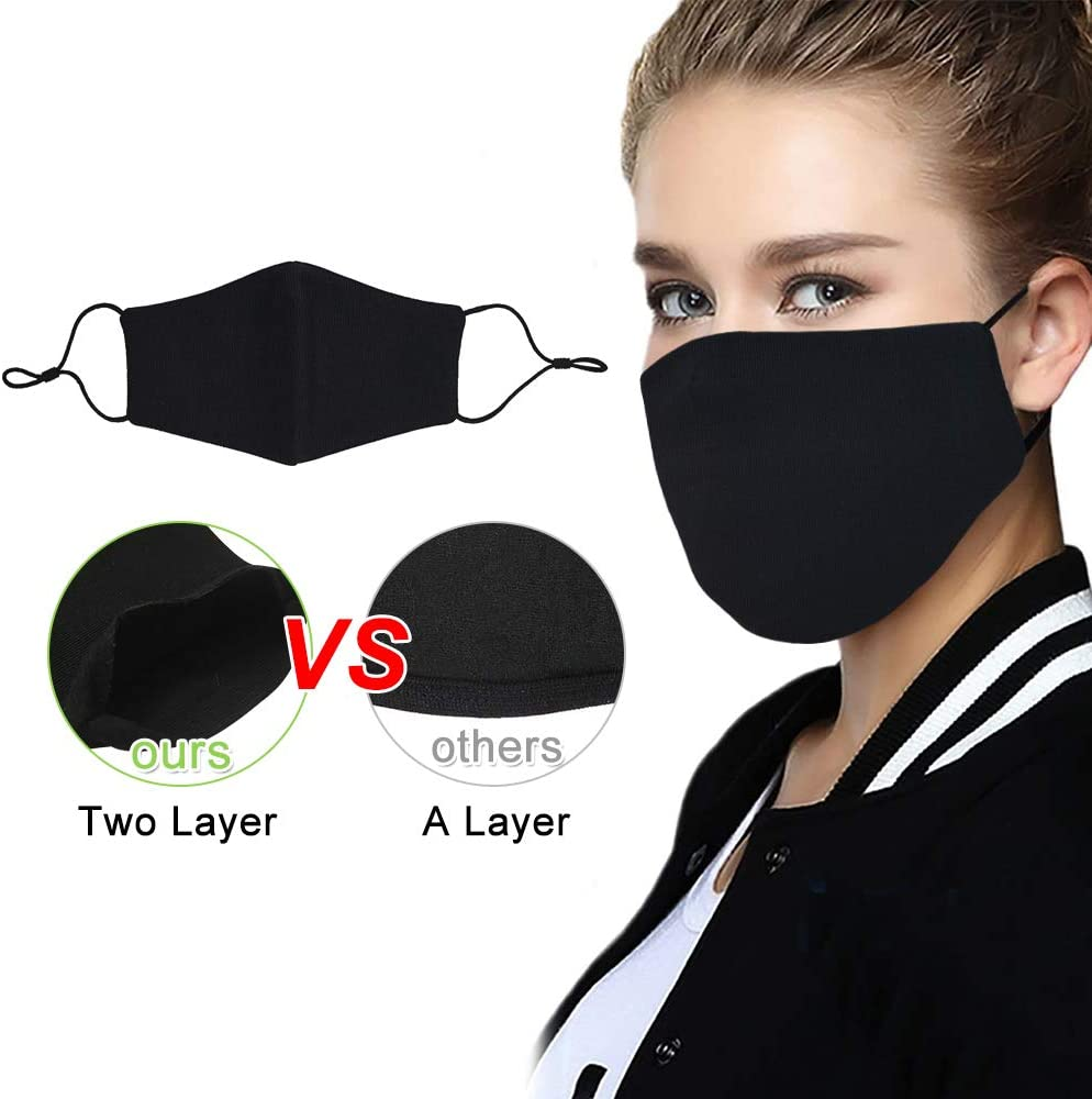 Black Reusable Cotton Fashion Protective 2PK /& Cotton Fabric for Sewing DIY Kit with 10pice Customized Cotton Fabric,Cutting Template,1//4inch Elastic Bands for Sewing and Strap Buckles,Washable
