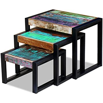 Awesome Festnight 3 Pieces Reclaimed Wood Nesting End Side Table Set Stackable Nightstand Corner Tables With Steel Frame Leg For Living Bed Room Small Place Gmtry Best Dining Table And Chair Ideas Images Gmtryco