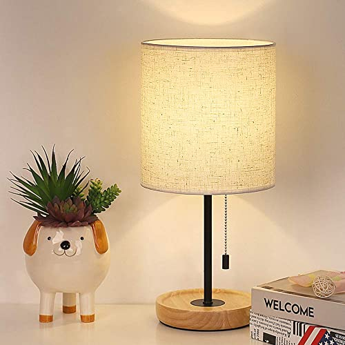 Bedside Table Lamp Modern Nightstand Simple Desk Light with Linen Fabric Shade Pull Chain Wooden Desk Lamps for Bedrooms Office College Dorm Dining Living Room